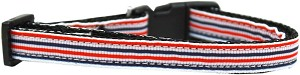 Patriotic Stripes Nylon Ribbon Dog Collar XS