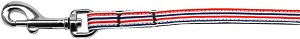 Patriotic Stripes Nylon Ribbon Pet Leash 3/8 inch wide 4Ft Lsh