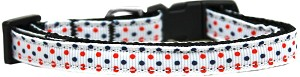 Patriotic Polka Dots Nylon Ribbon Dog Collar XS