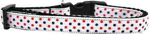 Patriotic Polka Dots Nylon Ribbon Dog Collar Medium Narrow