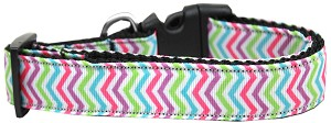 Summer Chevrons Nylon Ribbon Dog Collar XL