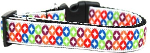 Bright Diamonds Nylon Ribbon Dog Collar XL