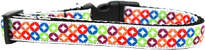Bright Diamonds Nylon Ribbon Dog Collar Medium Narrow