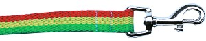 Rasta Bamboo Nylon Dog Collar 5/8 wide 6Ft Lsh