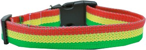 Rasta Bamboo Nylon Dog Collar Large