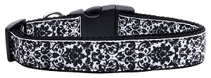 Fancy Black and White Nylon Ribbon Dog Collar XL
