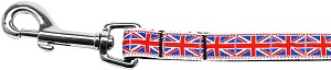 Tiled Union Jack(UK Flag) Nylon Ribbon Leash 5/8 inch wide 4ft Long