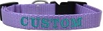 Custom Embroidered Made in the USA Nylon Dog Collar XS Lavender
