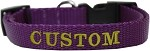 Custom Embroidered Made in the USA Nylon Dog Collar XS Purple
