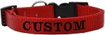 Custom Embroidered Made in the USA Nylon Dog Collar XS Red
