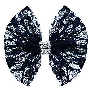 Hair Bow Lace and Crystals Clip Black