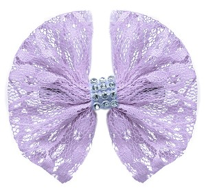 Hair Bow Lace and Crystals Clip Lavender