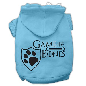 Game of Bones Screenprint Dog Hoodie Baby Blue XXL (18)