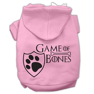 Game of Bones Screenprint Dog Hoodie Light Pink XXL (18)