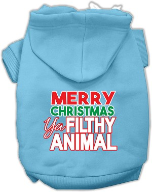 Ya Filthy Animal Screen Print Pet Hoodie Baby Blue XL (16)
