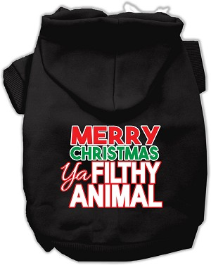 Ya Filthy Animal Screen Print Pet Hoodie Black Lg (14)