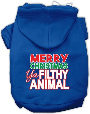 Ya Filthy Animal Screen Print Pet Hoodie Blue XS (8)