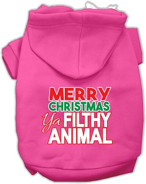 Ya Filthy Animal Screen Print Pet Hoodie Bright Pink Sm (10)