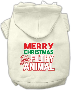 Ya Filthy Animal Screen Print Pet Hoodie Cream Sm (10)
