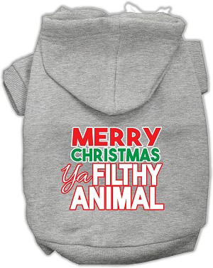 Ya Filthy Animal Screen Print Pet Hoodie Grey XXXL (20)