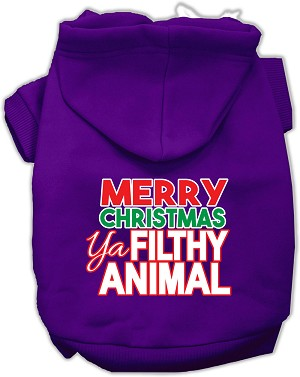 Ya Filthy Animal Screen Print Pet Hoodie Purple Lg (14)