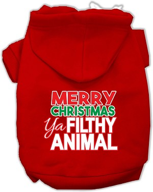Ya Filthy Animal Screen Print Pet Hoodie Red XL (16)