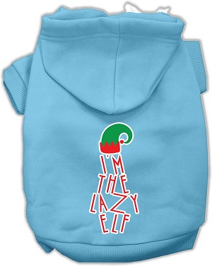 Lazy Elf Screen Print Pet Hoodie Baby Blue XXXL (20)