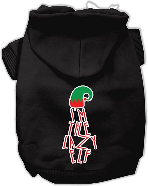 Lazy Elf Screen Print Pet Hoodie Black Lg (14)
