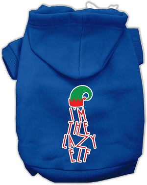 Lazy Elf Screen Print Pet Hoodie Blue XS (8)