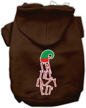 Lazy Elf Screen Print Pet Hoodie Brown XL (16)