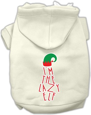 Lazy Elf Screen Print Pet Hoodie Cream Lg (14)