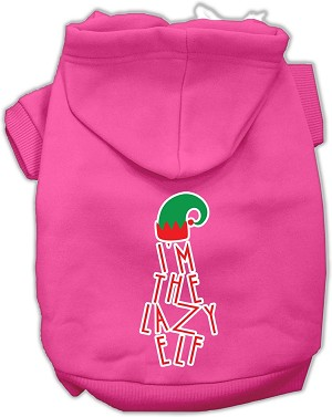 Lazy Elf Screen Print Pet Hoodie Bright Pink XL (16)