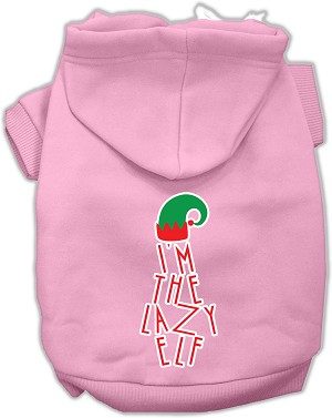 Lazy Elf Screen Print Pet Hoodie Light Pink Sm (10)