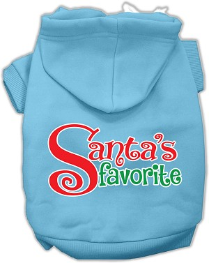 Santas Favorite Screen Print Pet Hoodie Baby Blue XXL (18)
