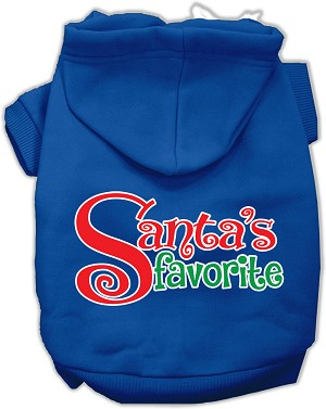 Santas Favorite Screen Print Pet Hoodie Blue XXXL (20)