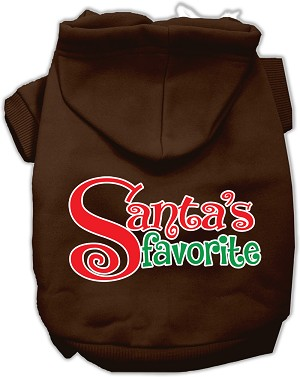 Santas Favorite Screen Print Pet Hoodie Brown Med (12)