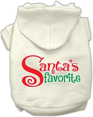 Santas Favorite Screen Print Pet Hoodie Cream XXXL (20)