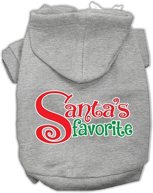 Santas Favorite Screen Print Pet Hoodie Grey Sm (10)