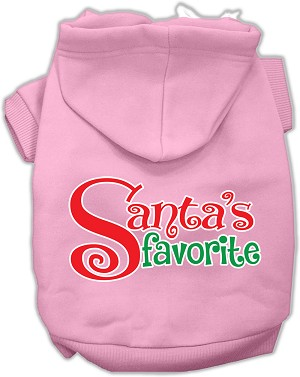 Santas Favorite Screen Print Pet Hoodie Light Pink XL (16)