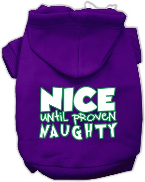 Nice until proven Naughty Screen Print Pet Hoodie Purple XS (8)