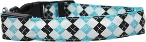 LED Dog Collar Argyle Aqua Size Large