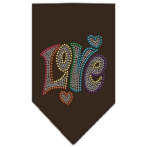 Technicolor Love Rhinestone Pet Bandana Cocoa Size Large
