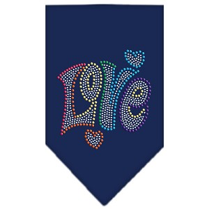 Technicolor Love Rhinestone Pet Bandana Navy Size Large