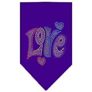 Technicolor Love Rhinestone Pet Bandana Purple Size Small