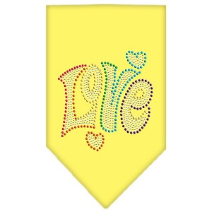 Technicolor Love Rhinestone Pet Bandana Yellow Size Small