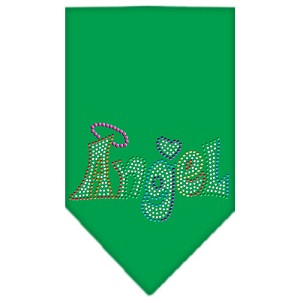 Technicolor Angel Rhinestone Pet Bandana Emerald Green Size Small