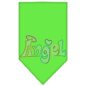 Technicolor Angel Rhinestone Pet Bandana Lime Green Size Small
