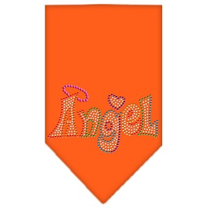 Technicolor Angel Rhinestone Pet Bandana Orange Size Large