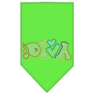 Technicolor Diva Rhinestone Pet Bandana Lime Green Size Large