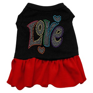 Technicolor Love Rhinestone Pet Dress Black with Red Med (12)